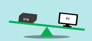 STBとパソコンの比較イメージ