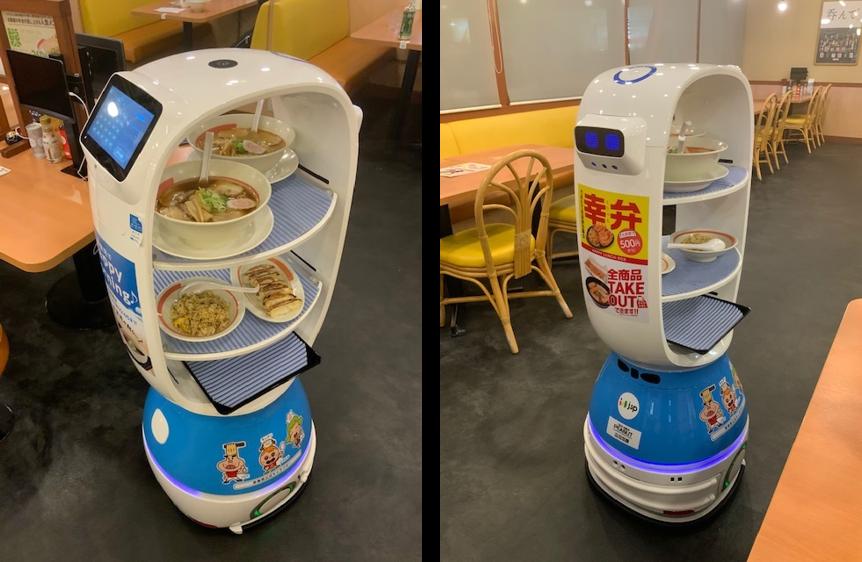 幸楽苑に導入されている配膳ロボット「PEANUTS」