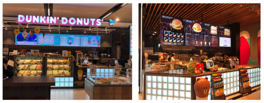 韓国Dunkin Dnutsのデジタルメニューボード